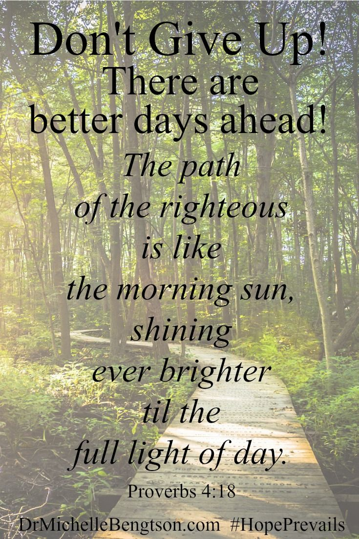 Don't give up! There are brighter days ahead. Hope Prevails. Christian Inspirational Quote. Bible Verse. Sc…  | Devotional quotes, Christian verses, Spiritual quotes