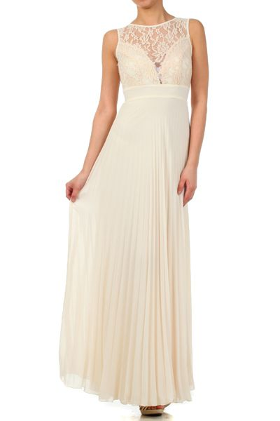 Lace & Chiffon Bridesmaid Dress with Keyhole Back- In Ivory
