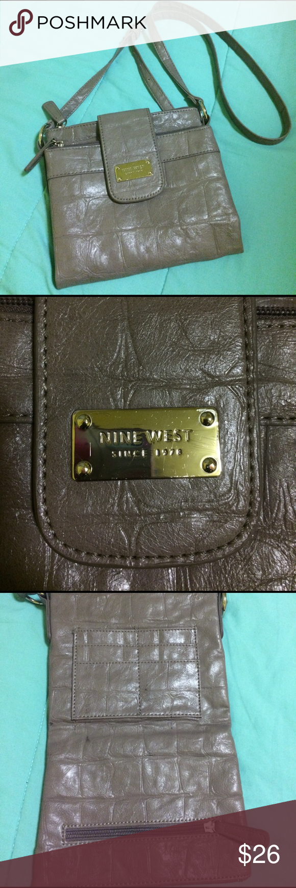 """Nine West Grey Crossbody Purse Grey textured Nine West Cross-body purse. 2 large zippered pouches. Magnetic fold and smaller zippered pouch on interior. Card holder. Interior zippered pocket. 7.5""""x7"""" bag. 21"""" strap (adjustable). Small black marks on interior shown in picture. Nine West Bags Crossbody Bags"""