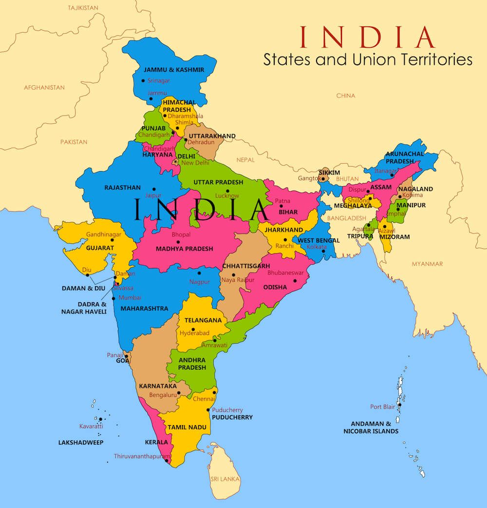 India For Kids India Facts For Kids Geography People Animals India For Kids India Facts Detailed Map