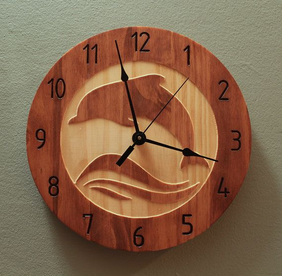 Dolphin clock Animal clock Nature clock by BunBunWoodworking