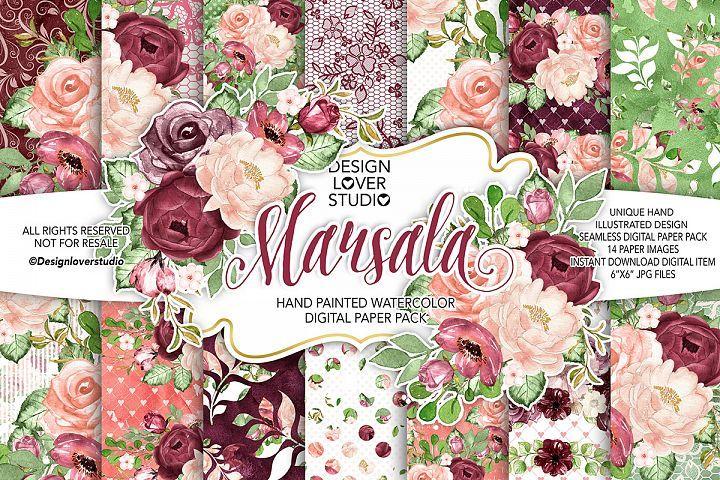 Watercolor Marsala Digital Papers Hand Illustration Watercolor