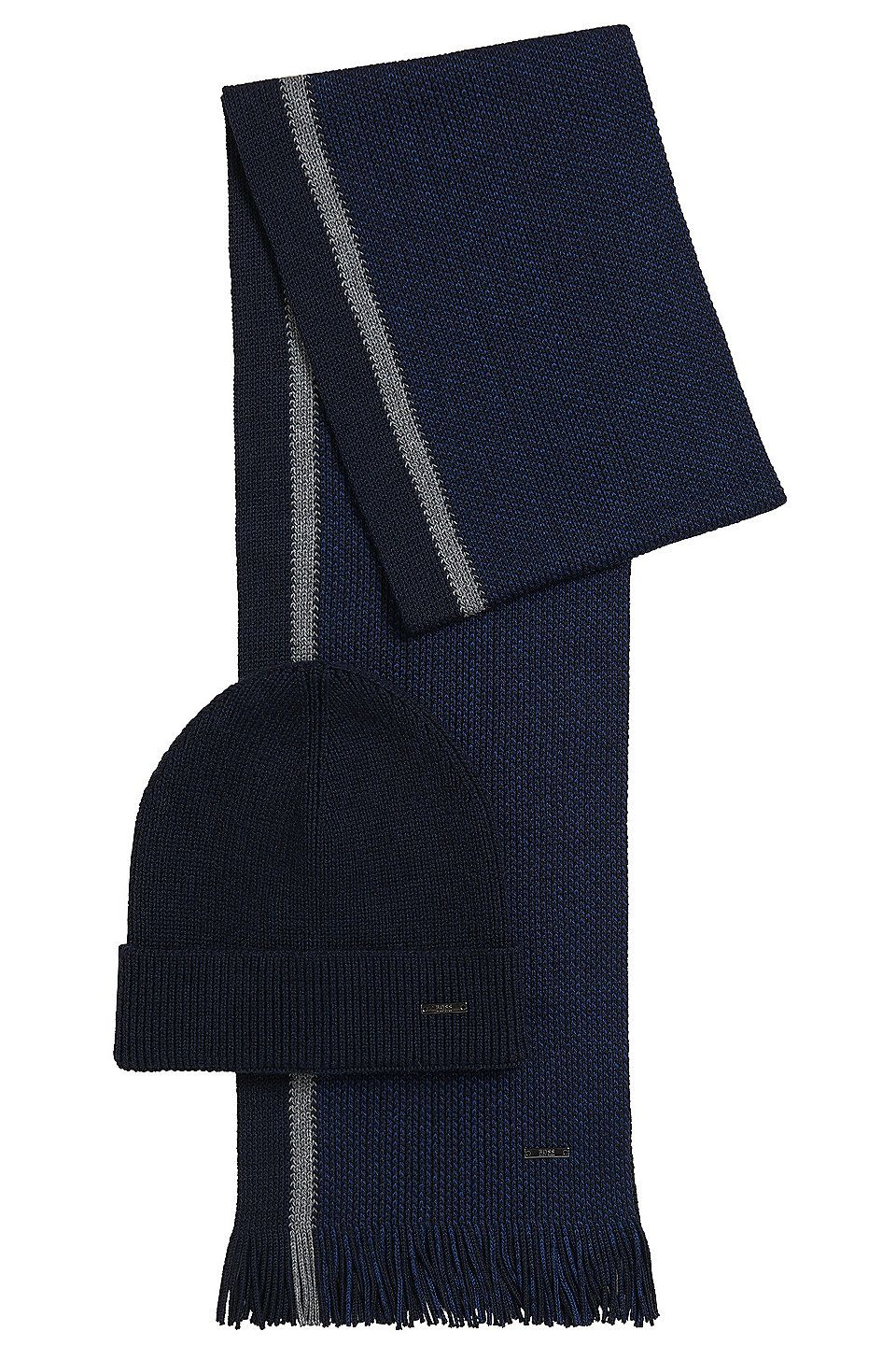 70b45f6e069 HUGO BOSS Hat and scarf gift set in two-tone virgin wool - Dark Blue ...