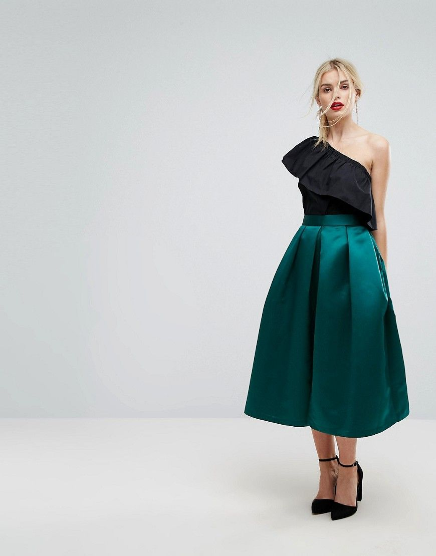 3edc545d75 Closet London Full Prom Sateen Midi Skirt | Nice outfits | Pleated ...