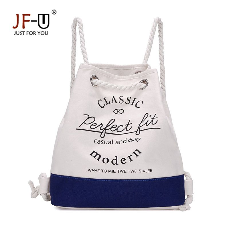 JF-U Summer Women Canvas bag Drawstring beach bags String Shoulder Bags Rucksack  Student Vintage School bag Mochila