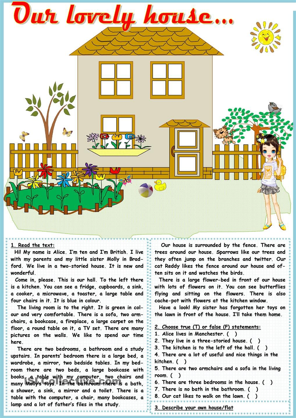 Our Lovely House Reading Comprehension Lessons English Reading Esl Reading Comprehension [ 1440 x 1018 Pixel ]