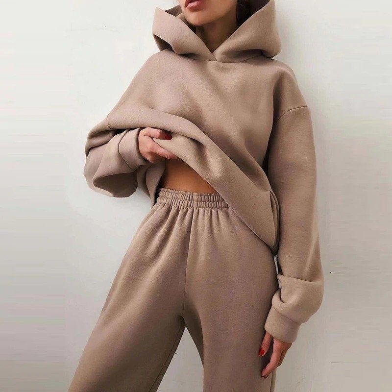 2 Piece Women Elegant Solid Sweatsuit Autumn Winte