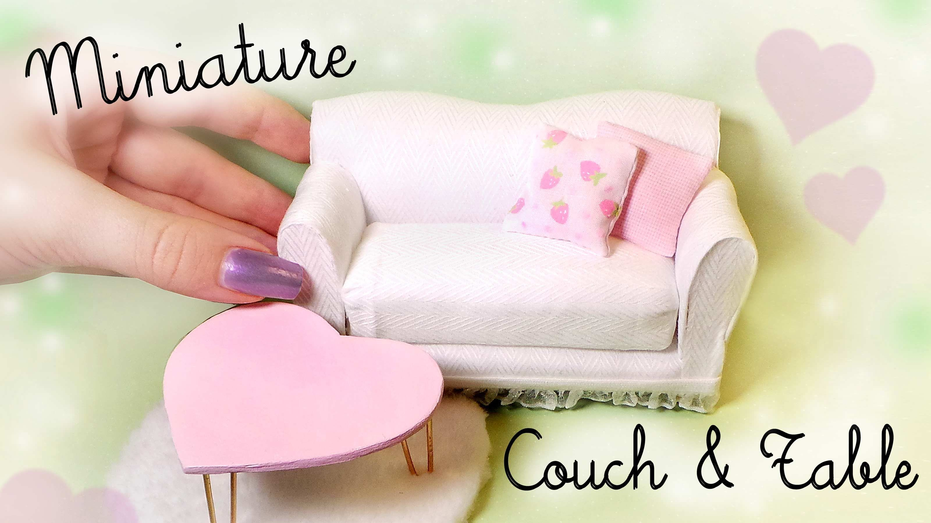 Cute Miniature Couch & Table Tutorial // Dolls/Dollhouse #miniaturefurniture