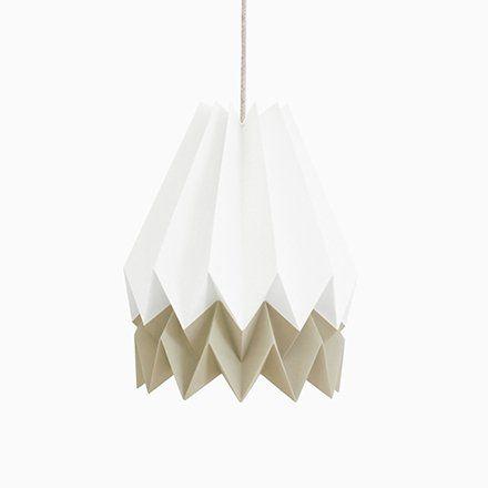 Photo of Polar White Origami Lamp with Light Taupe Stripe by Orikomi