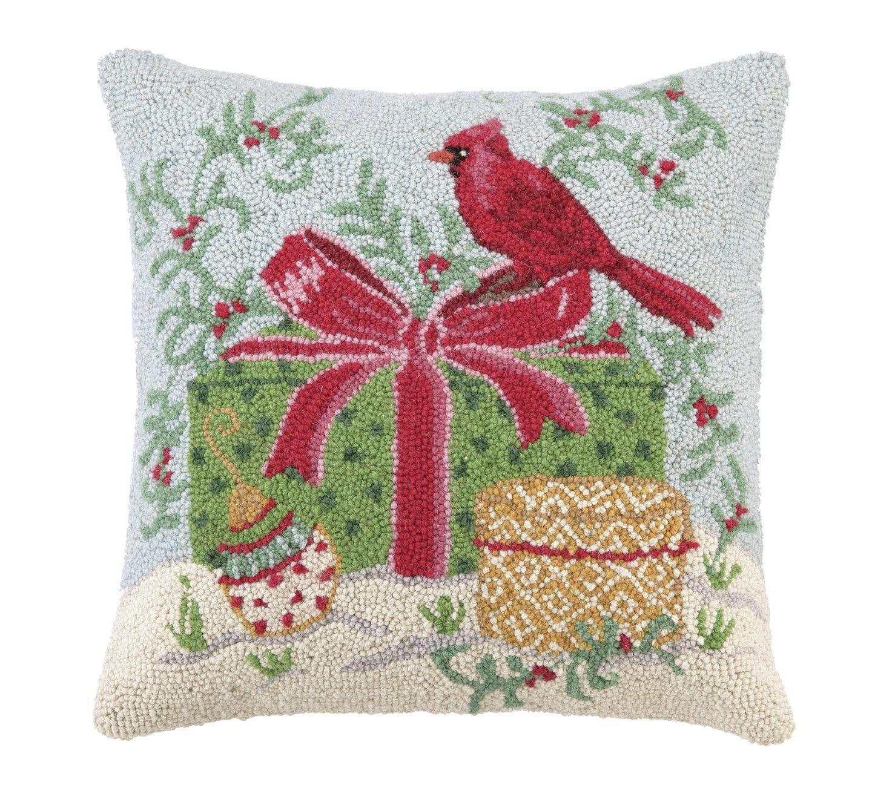 Winter Wonderland Cardinal Hook Wool Throw Pillow   Wool, Winter ...