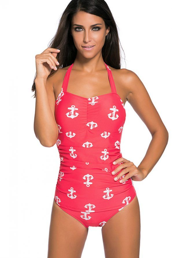 b312e7b2211 Red Anchor Print Halter One Piece Bathing Suit