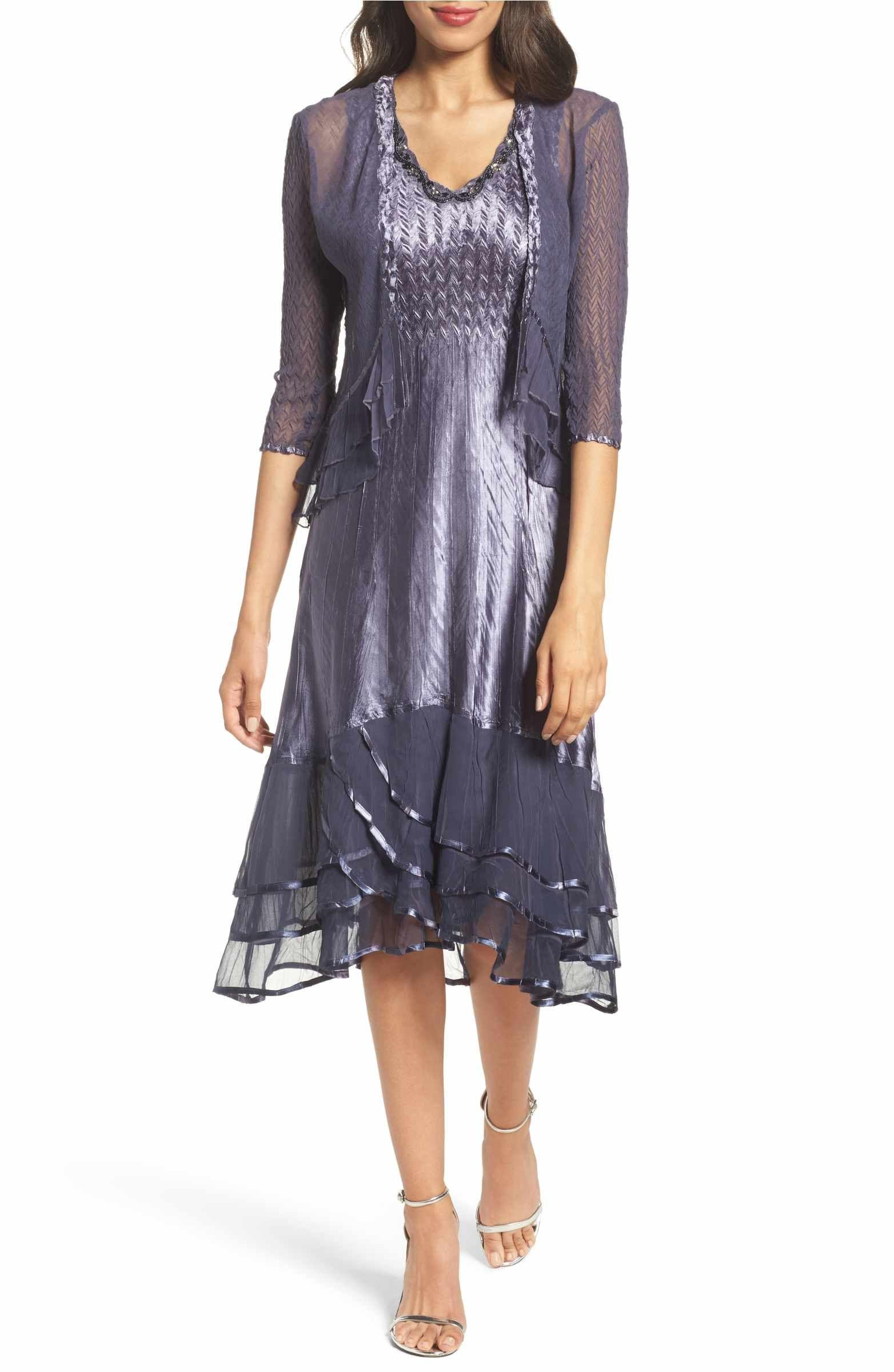 Main Image - Komarov Embellished Charmeuse Dress & Chiffon Jacket ...