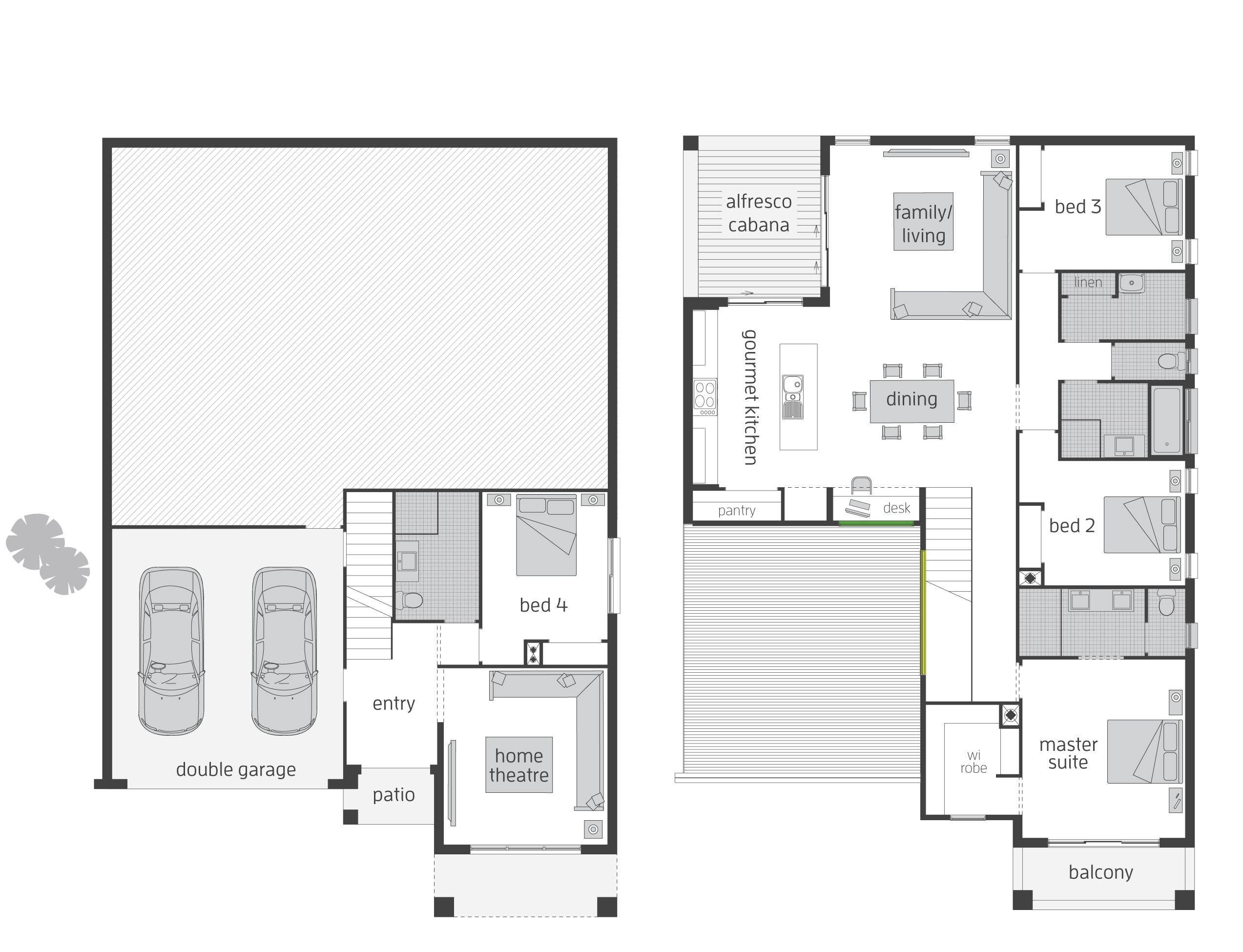the bayview split level floor plan by mcdonald jones