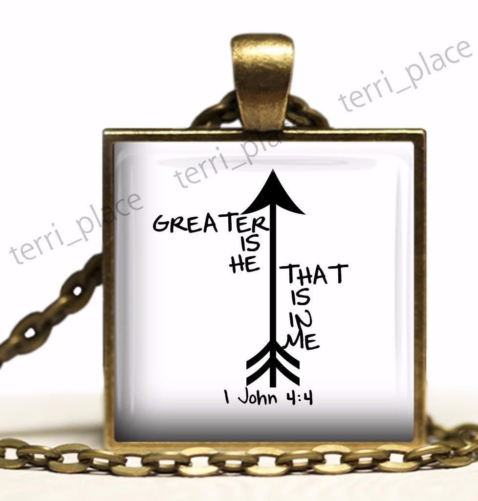 Greater Is He 1 John 4:4 Glass Top Pendant Biblical Religious Scripture Necklace