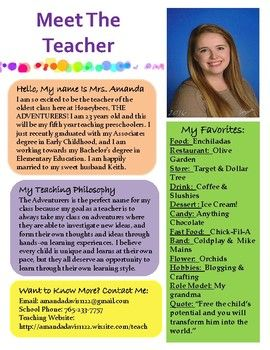 here is a free meet the teacher template