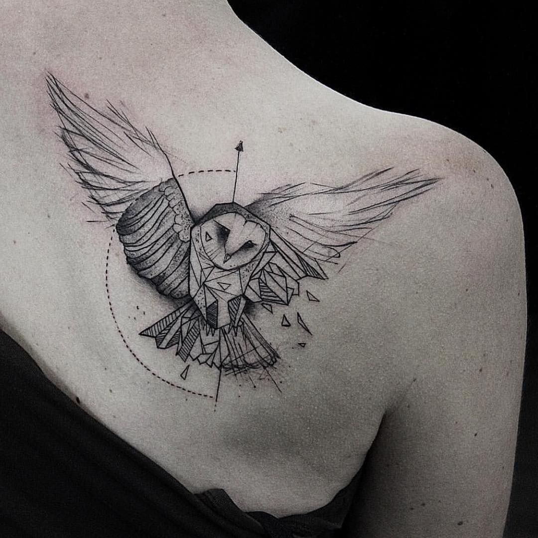 Bw Geometric Owl Shoulder Tattoo My Real Tatoo