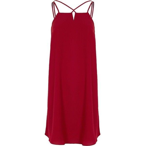 River Island Red Cross Strap Back Slip Dress 14 Liked On