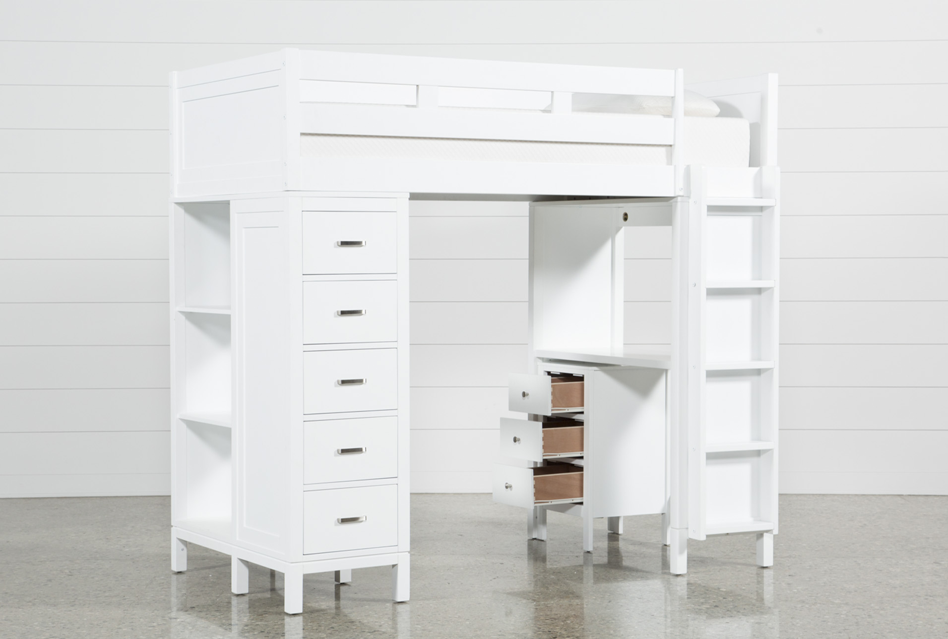 Wood loft bed with desk and dresser  Hayden White Loft Bed  Products  Pinterest  White loft bed and