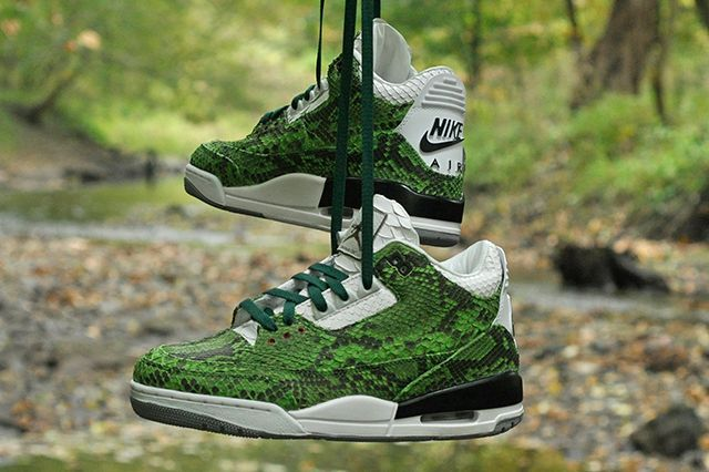 huge selection of 239e0 9e7b8 JBF CUSTOMS JORDAN 3 (GREEN PYTHON)