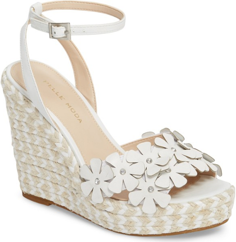 11fd43f6a3b Pelle Moda Waylin Espadrille Wedge Sandal in White. 3D flowers bloom across  the toe strap of a soaring wedge sandal wrapped with two-tone braided jute  for ...