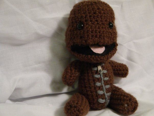 No pattern used- crocheted Sackboy, with a felt mouth and zipper ...