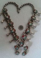 NAVAJO Squash Blossom Necklace Turquoise Coral Seashell Sterling, Vintage, BIG