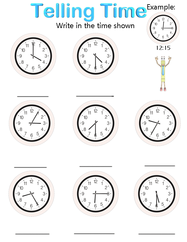 Math Worksheets For 2nd Grade Telling Time Worksheets Time Worksheets Math For Kids