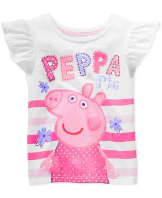 55cbd30f2 Happy Threads Little Girls' Peppa Pig Striped Graphic Tee | Peppa ...