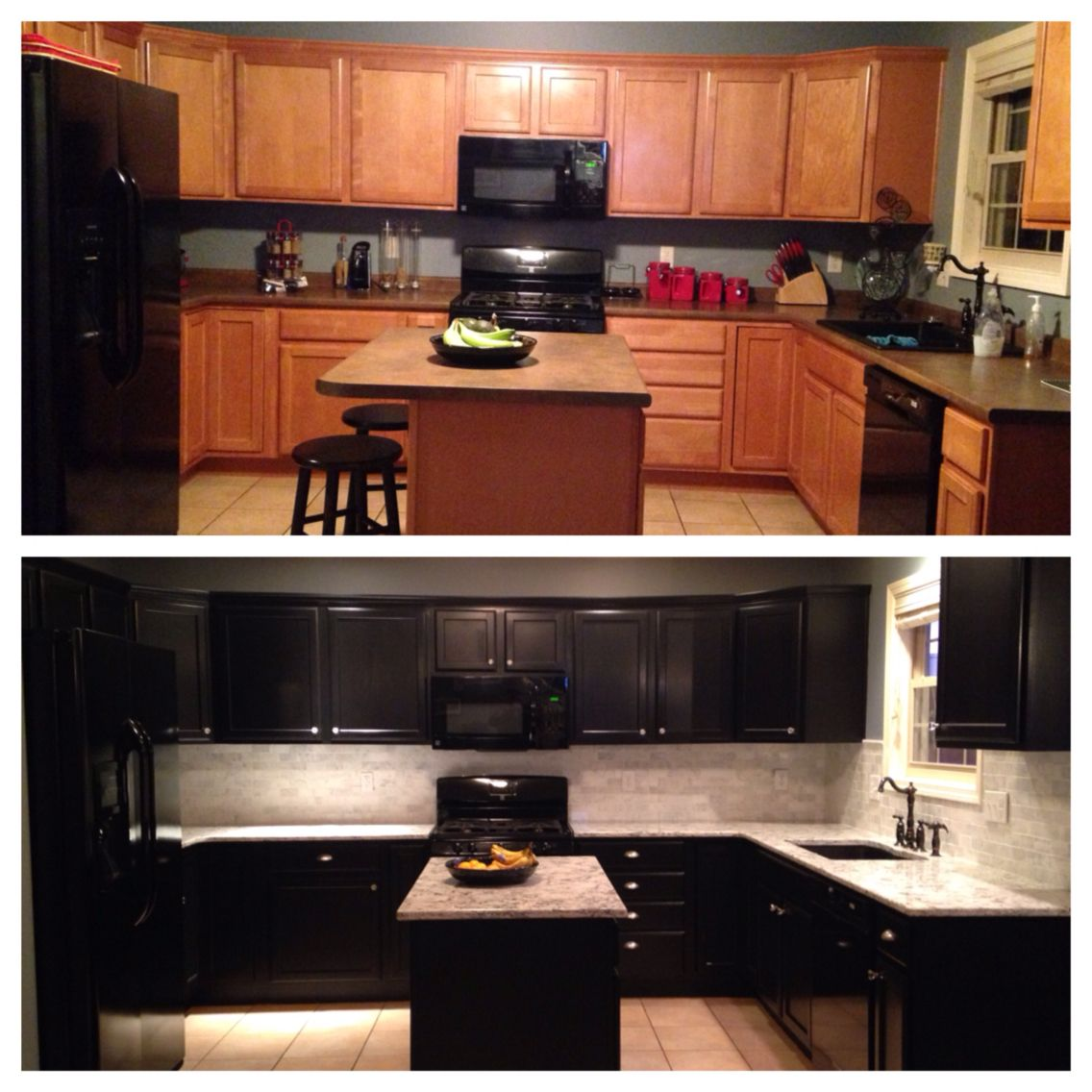 Kitchen Cabinet Stain Ideas: Kitchen Remodel Before And After Kitchen Cabinets Stained