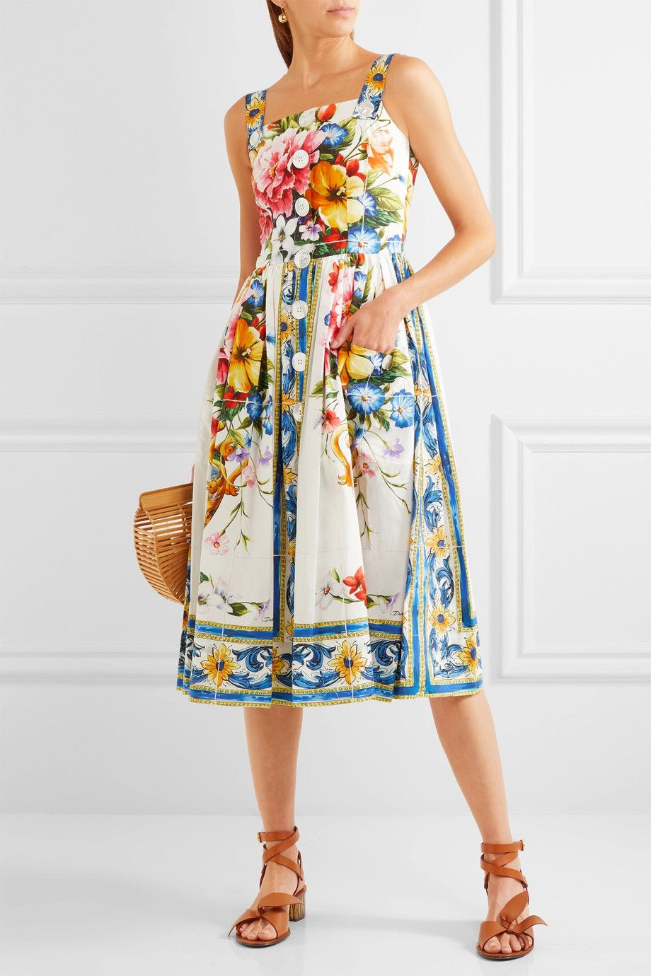 71a9e2d8 Dolce & Gabbana | Floral-print cotton-poplin midi dress | NET-A-PORTER.COM
