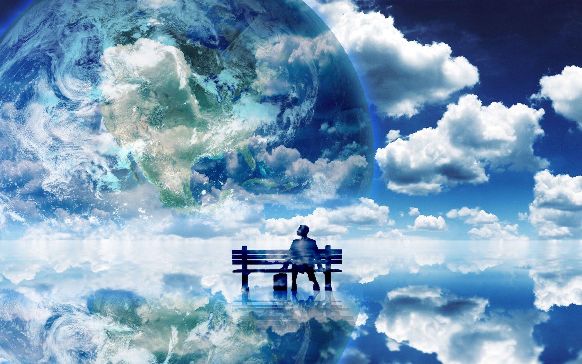 blue world Beautiful Blue World Fantasy world, High