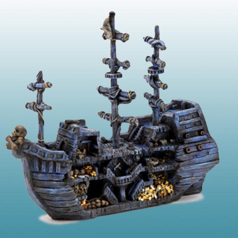 Penn Plax Sunken Pirate Treasure Ship Aquarium Decoration Aquarium