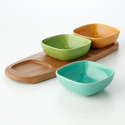 bobby flay acacia serving tray with dip bowls kohlu0027s
