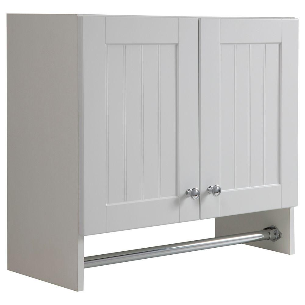 Glacier Bay Laundry Assembled 27 X 25 X 12 In Wall Cabinet In Country White Wc2725 Wh The Home Depot Wall Cabinet Laundry Room Flooring Tall Cabinet Storage