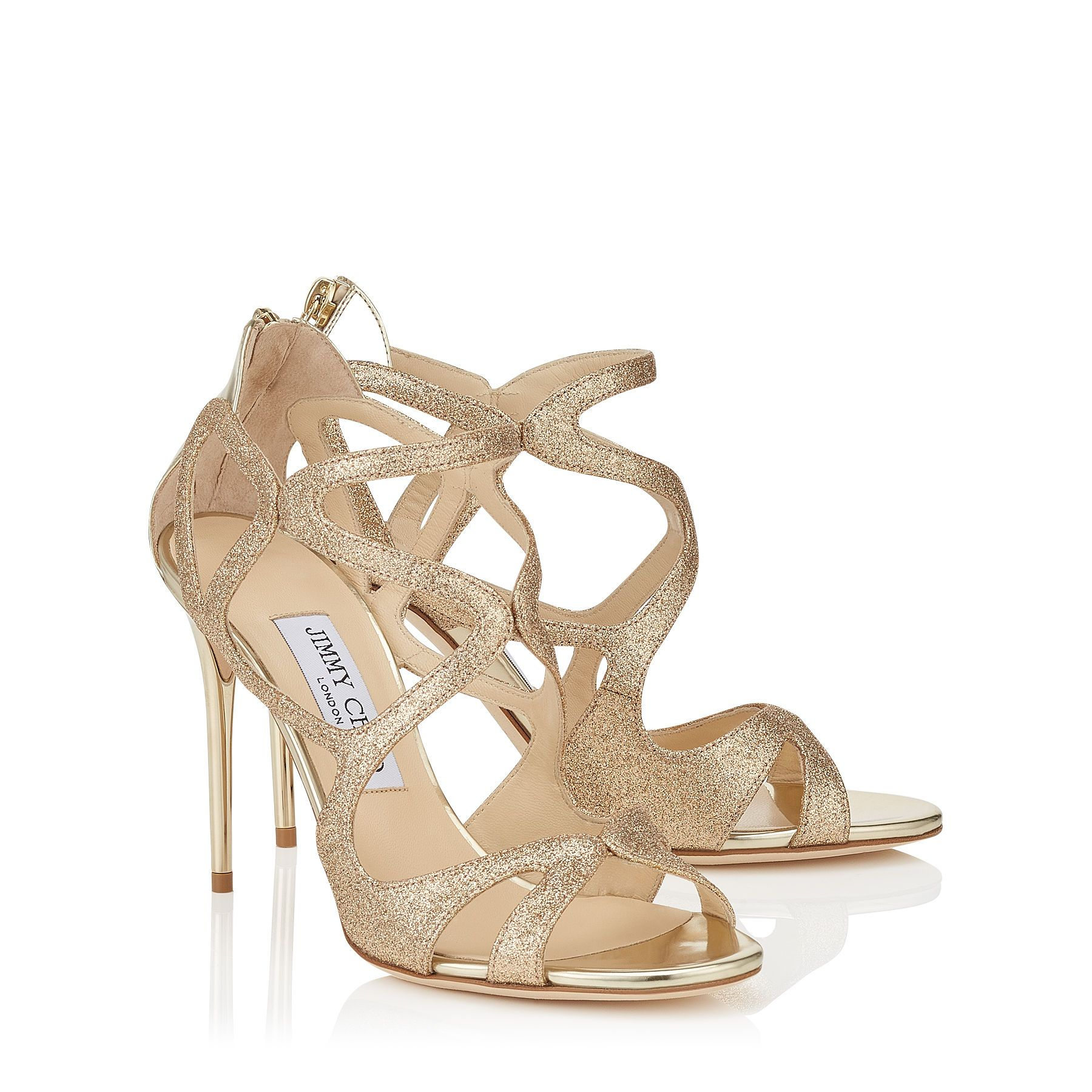 b46243c156 LESLIE 100, Sand Fine Glitter Fabric and Champagne Mirror Leather Strappy  Sandals. JIMMY CHOO.