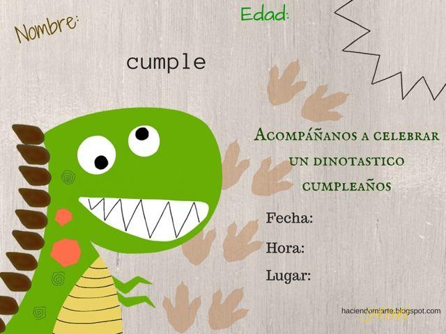 Pin De Sonia En Tarta Dinosaurio Invitaciones De