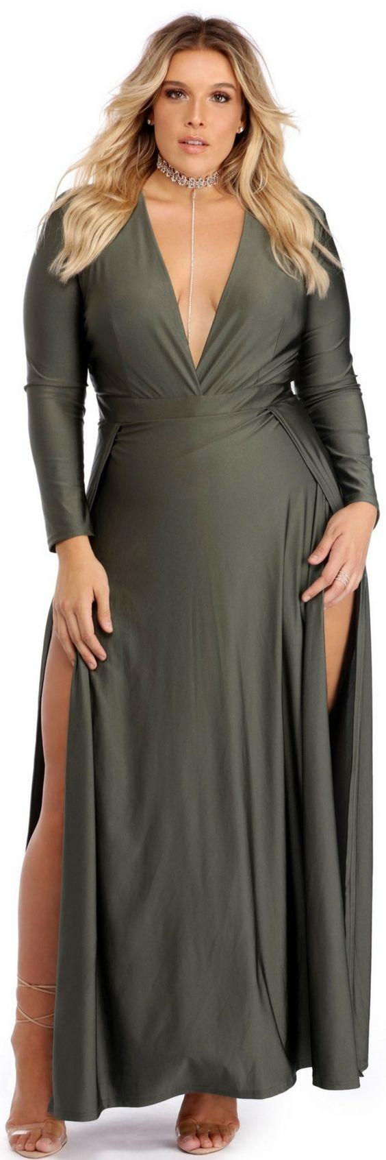 Plus desiree olive double slit dress in fashion bazar