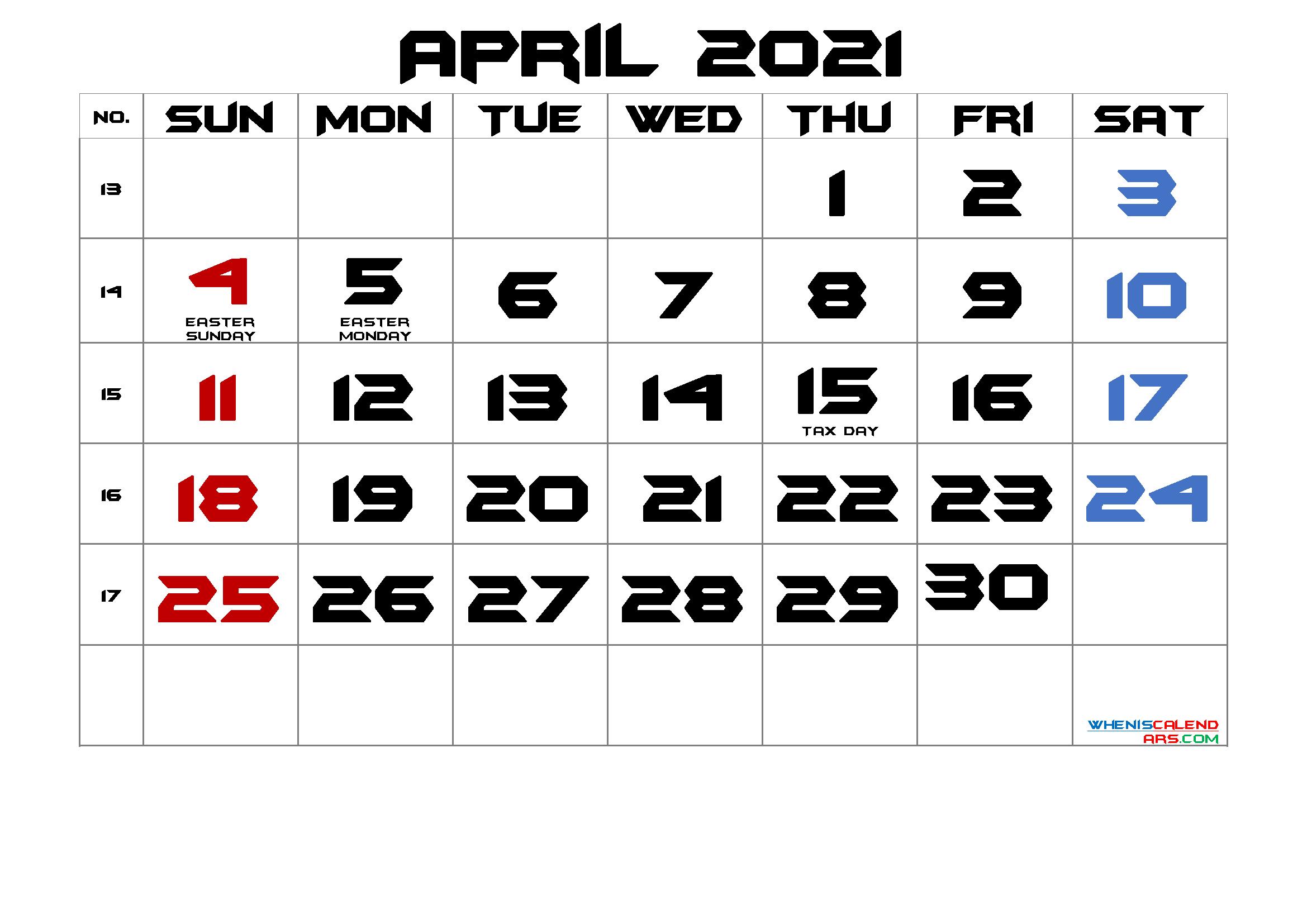 Free Printable April 2021 Calendar Calendar Printables Monthly Calendar Printable 2021 Calendar