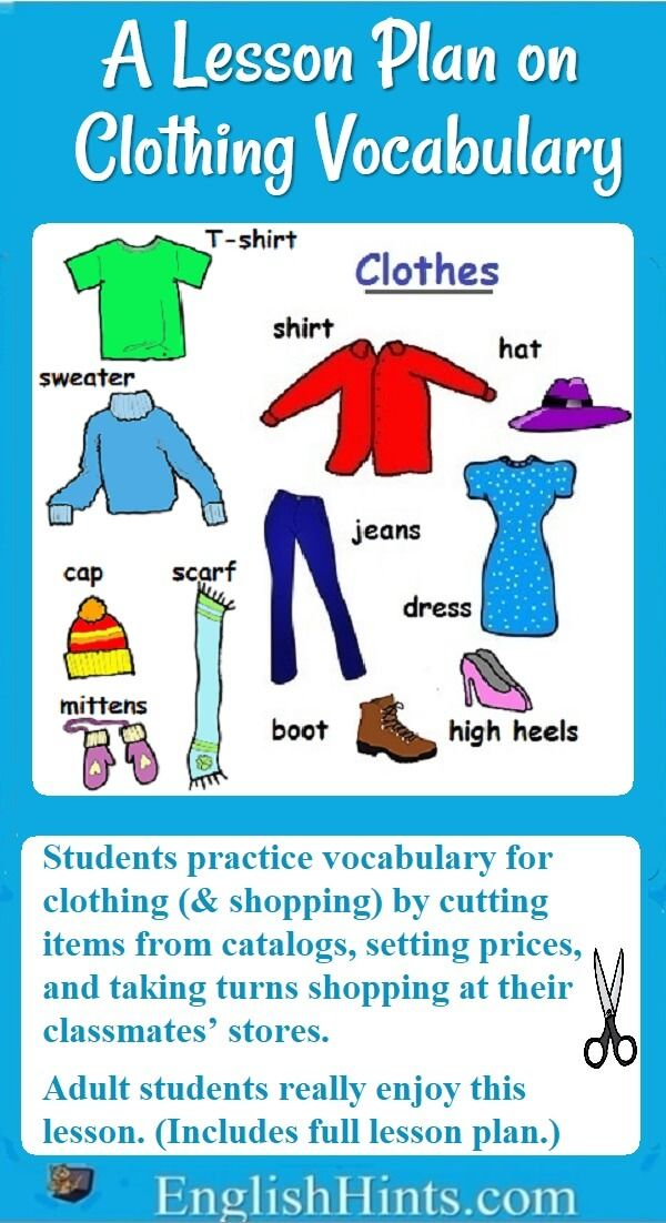 """Lesson Plan on Clothing Vocabulary and Shopping is part of Clothes Store Plan - A detailed ESL Beginners' lesson plan on clothing vocabulary and shopping  Student teams design clothing stores, plan inventory and prices, and """"sell"""" to other students"""
