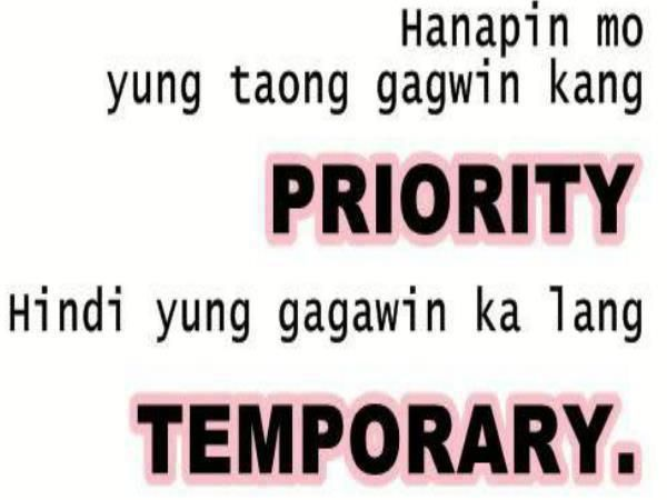 Tagalog Love Quotes : Priority vs Temporary | pacute.com ...