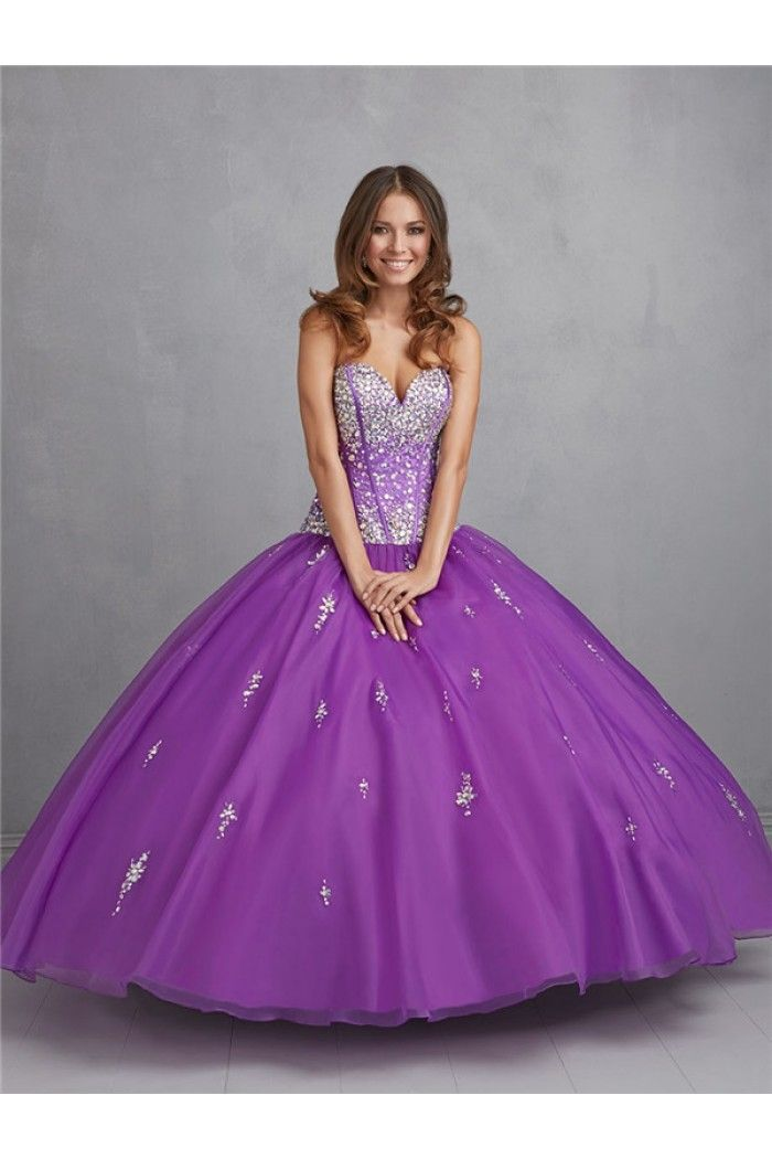 Ball Gown Strapless Sweetheart Purple Tulle Beaded Puffy Quinceanera ...
