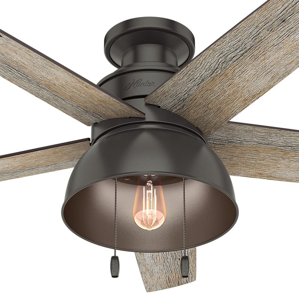 Hunter Bishop Hill 52 In Led Indoor Outdoor Noble Bronze Ceiling Fan With Light Kit 59564 The Home Depot Bronze Ceiling Fan Fan Light Ceiling Fan With Light