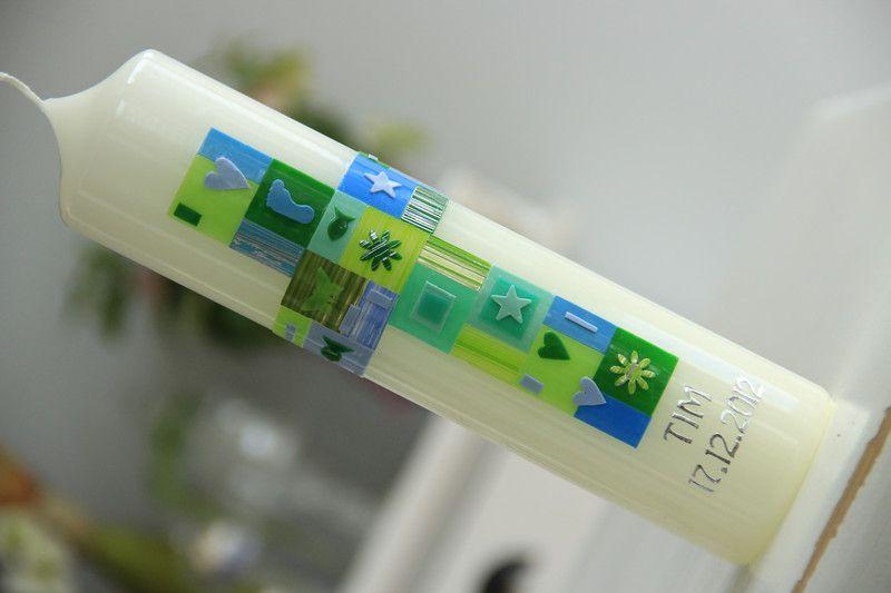 Taufkerzen - Taufkerze, Kommunionkerze Mosaik - ein Designerstück von hand-art-beit bei DaWanda