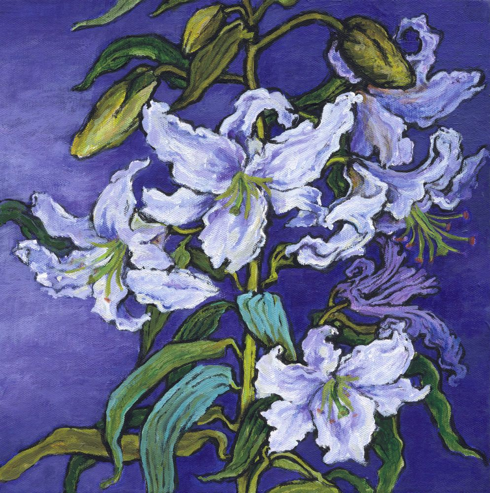 Lily flower painting floral pinterest purple backgrounds lily flower painting by patricia clements izmirmasajfo