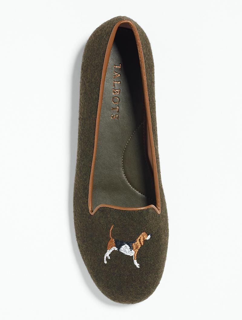 Beagle Embroidered Flats Embroidered Flats Countryside Fashion