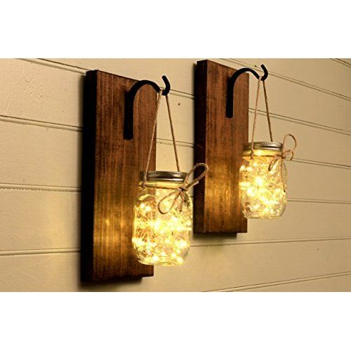 Mason Jar Wall Sconce (SET OF TWO) Hand Crafted Rustic Wall Decor ...