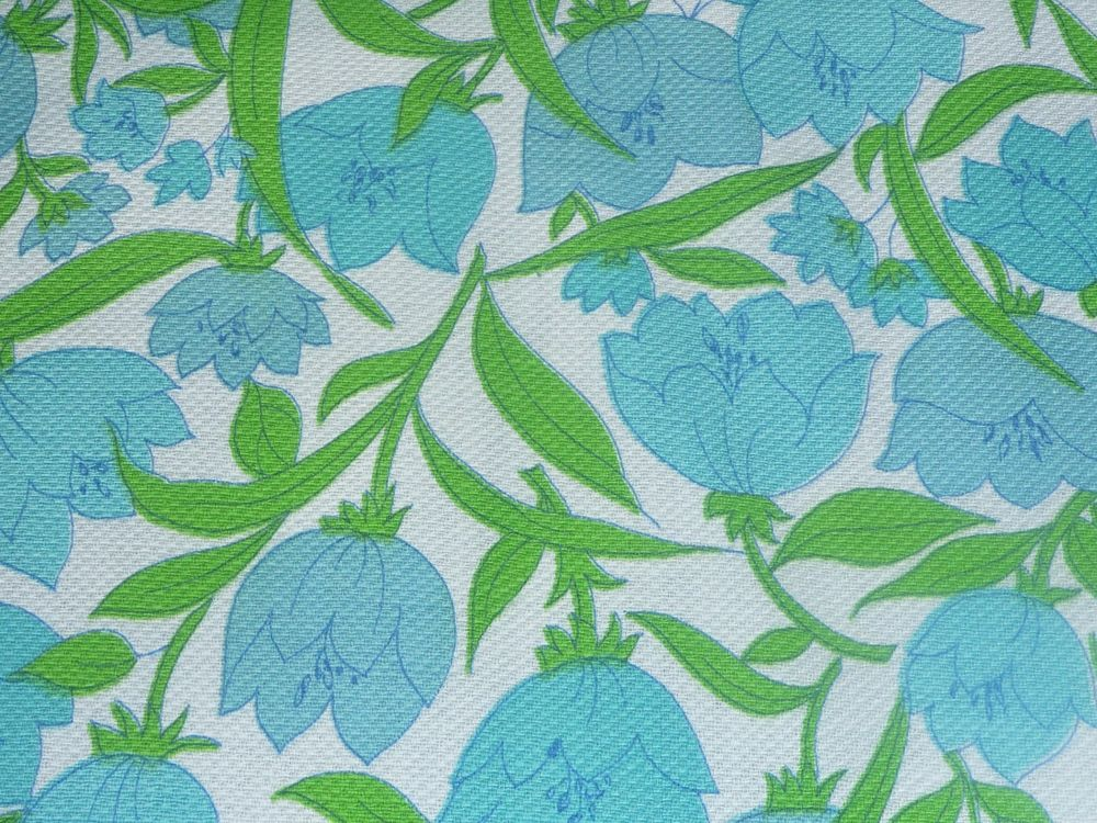 """Vtg Mid Century Green Turquoise Flowers Tulips Cotton Fabric Pique 36"""" x 62"""""""