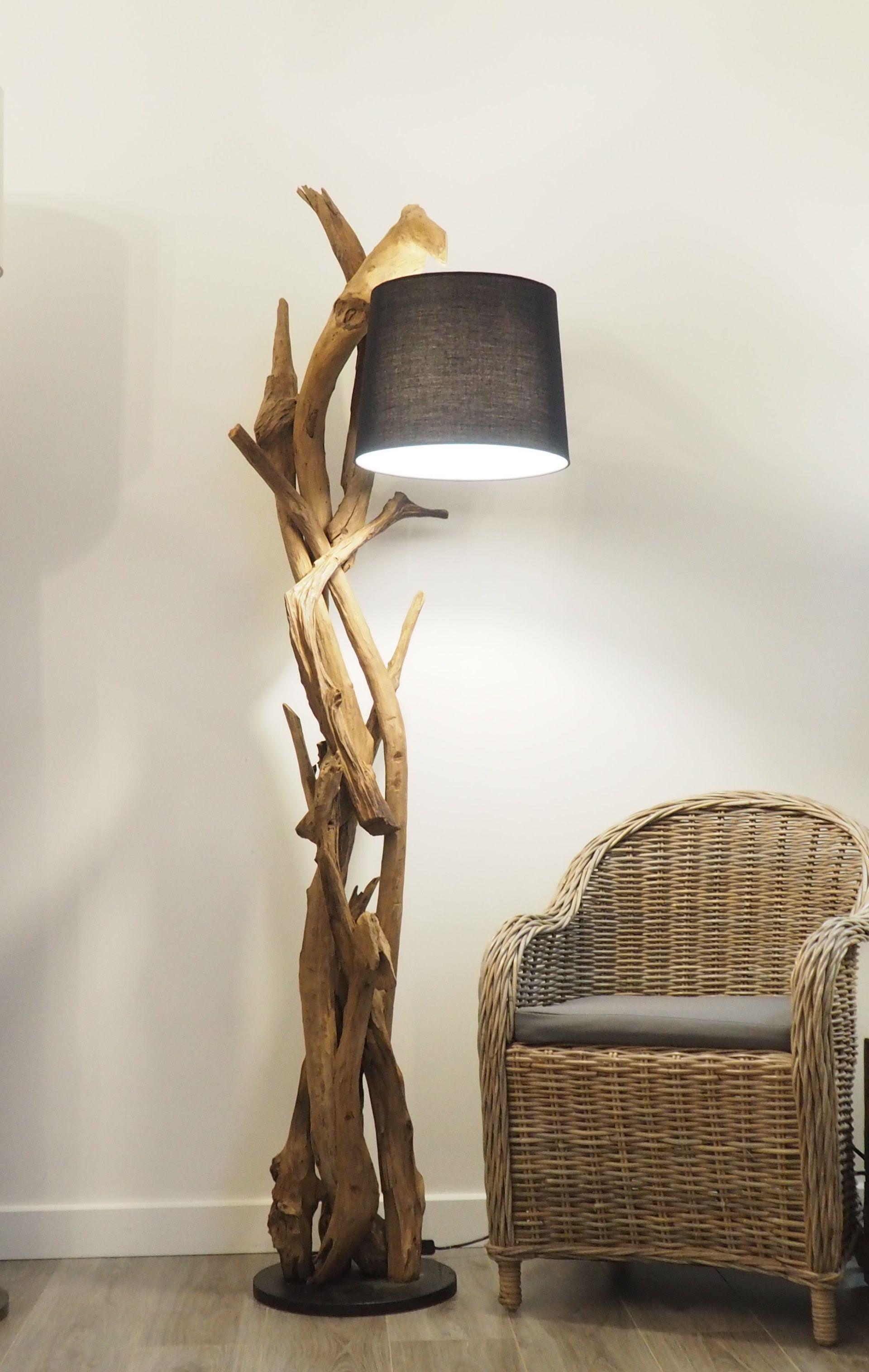 This Impressive Tubular Floor Lamp Is Made Up Of Rustic Teak Wood