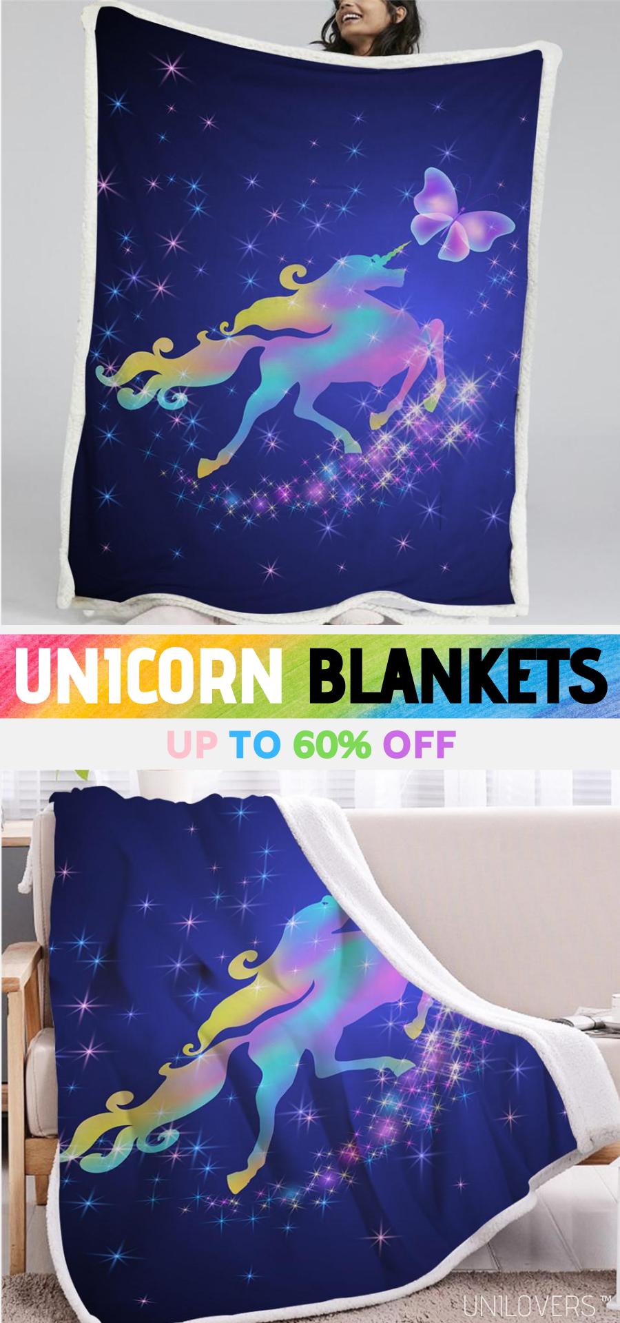 Galaxy Unicorn Sherpa Fleece Blanket Unilovers in 2020