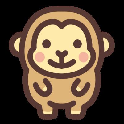 かわいいサルのアイコンイラストです さる サル 猿 日本猿 Monkey キャラクターデザイン イラスト サル